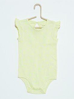 Fille 0-36 mois Body imprimé 'pois fluo' et mancherons volantés