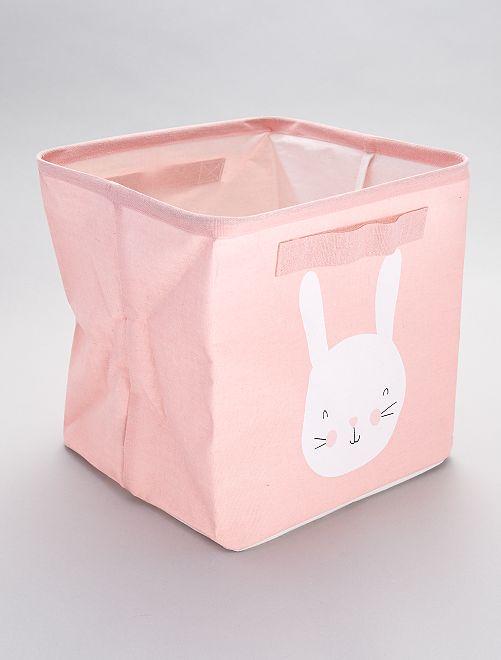Boîte de rangement imprimé 'lapins'                             rose