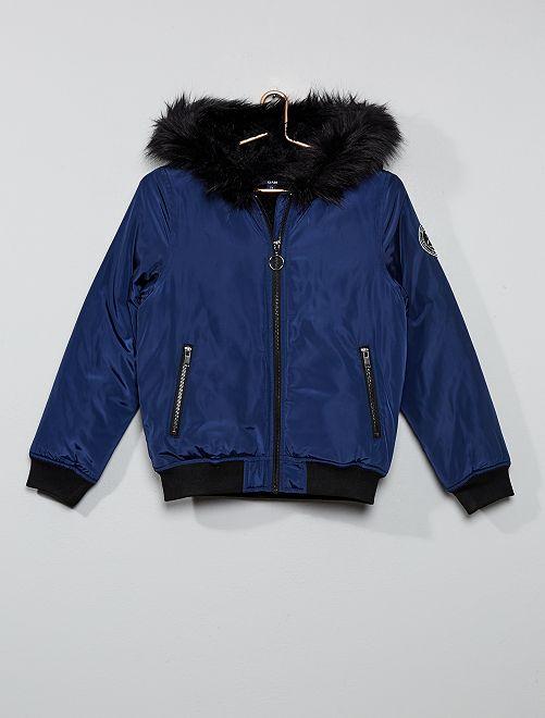Bomber chaud à capuche                             bleu