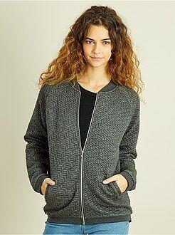 Manteau, veste - Bomber zippé molletonné graphique