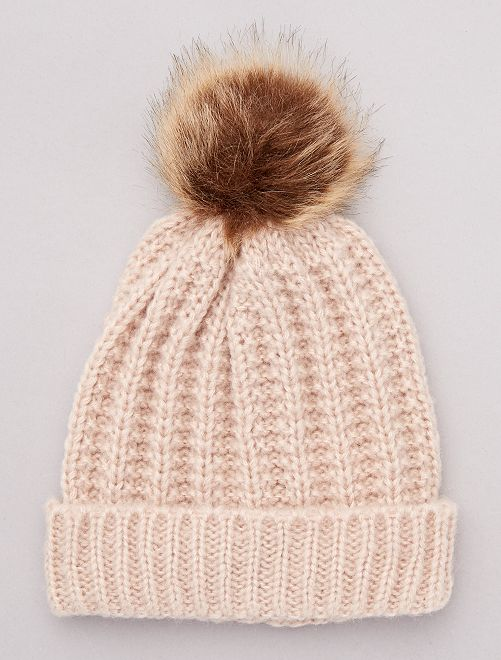 Bonnet à pompon                                                                 beige rosé