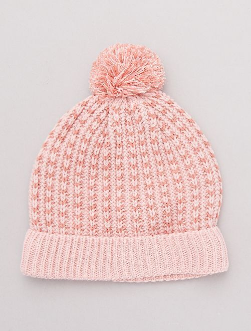 Bonnet à pompon bicolore                                                     rose