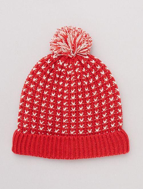 Bonnet à pompon bicolore                                                     rouge Fille