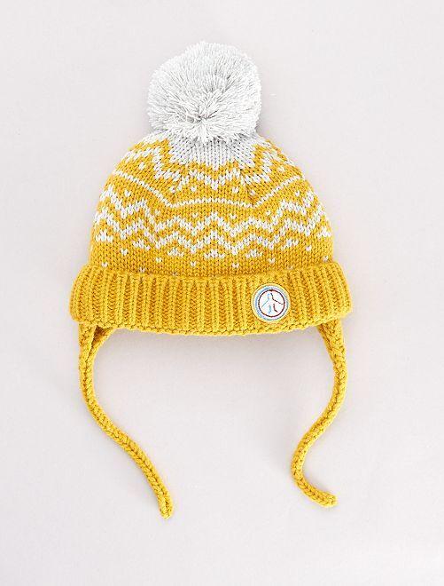 Bonnet à pompon doublé                             jaune