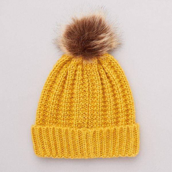 bonnet femme jaune