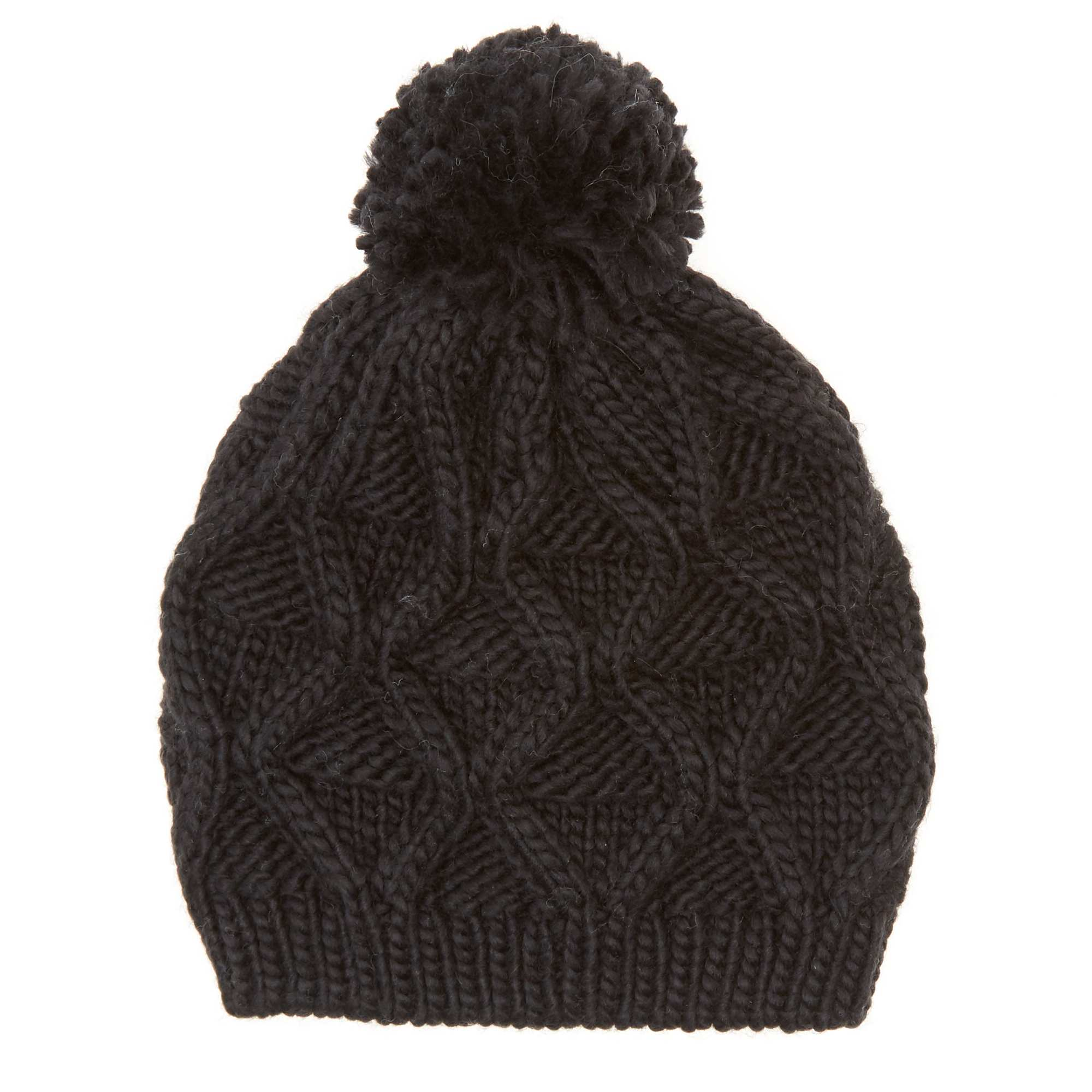 Bonnet à pompon noir Femme. Loading zoom
