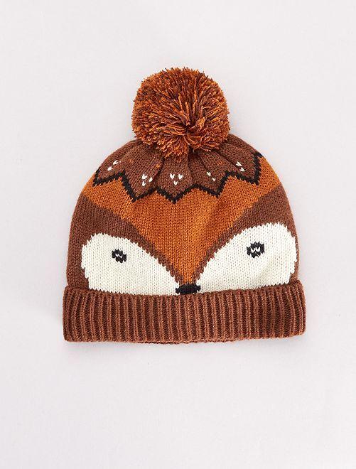 Bonnet à pompon 'renard'                             marron