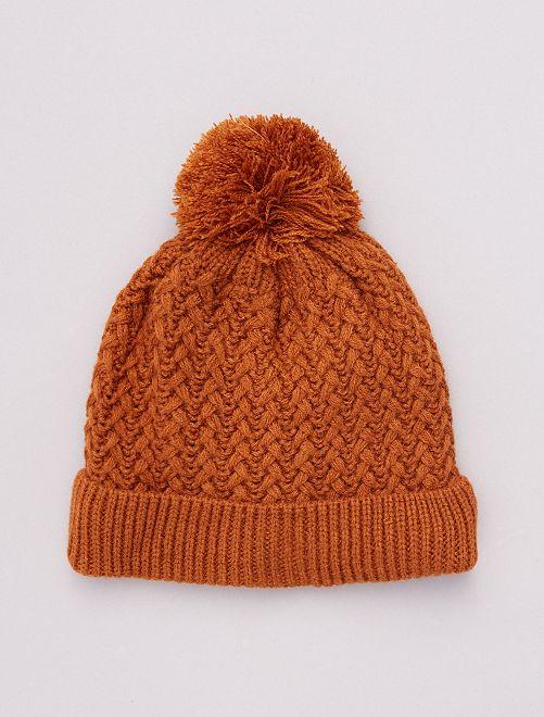 Bonnet à pompon unisexe                                                     marron