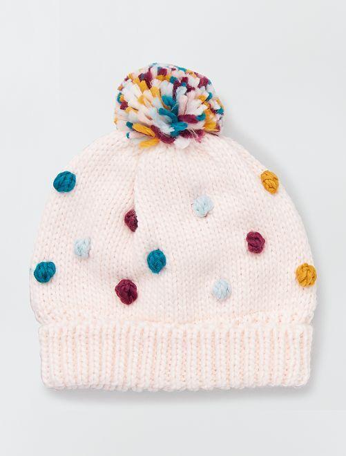 Bonnet avec pompons                                         rose