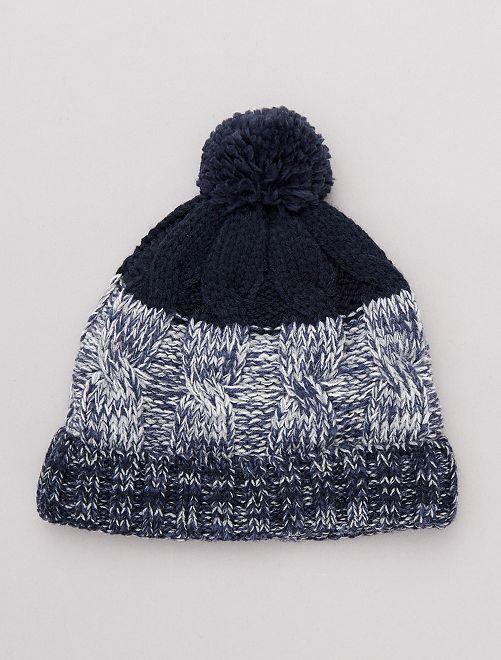 Bonnet bicolore à pompon                             bleu marine