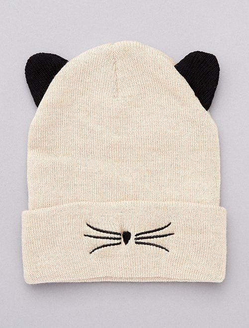 Bonnet 'chat' avec oreilles                                         beige