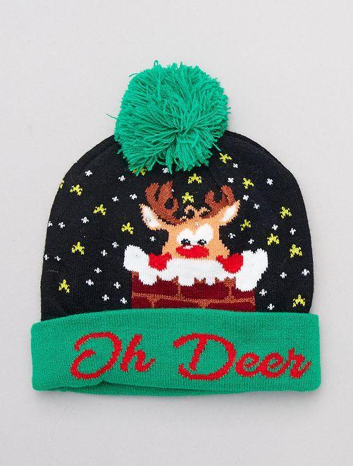 Bonnet de Noël lumineux                                                     noir/vert