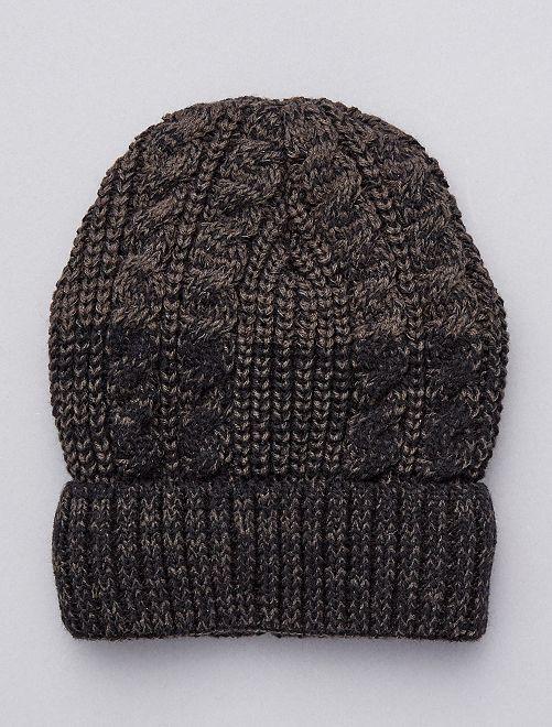 Bonnet doublé en fausse fourrure                             noir/gris