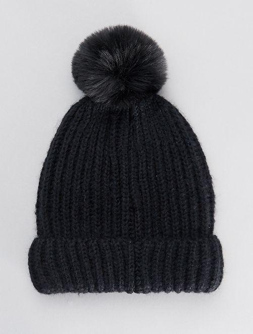 Bonnet en grosse maille et pompon                                                                 noir