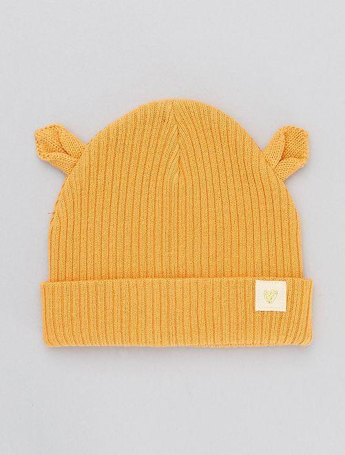 Bonnet en maille avec oreilles                                         jaune