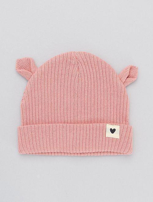 Bonnet en maille avec oreilles                                 rose