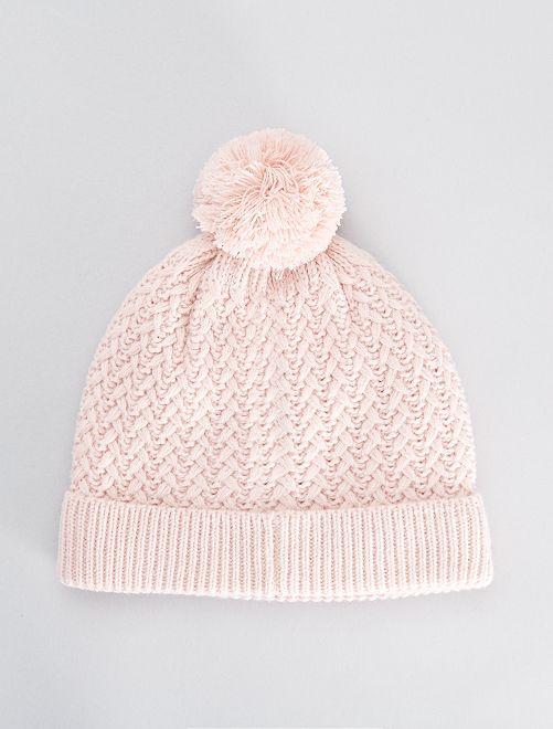 Bonnet en maille doublé polaire                                                     rose