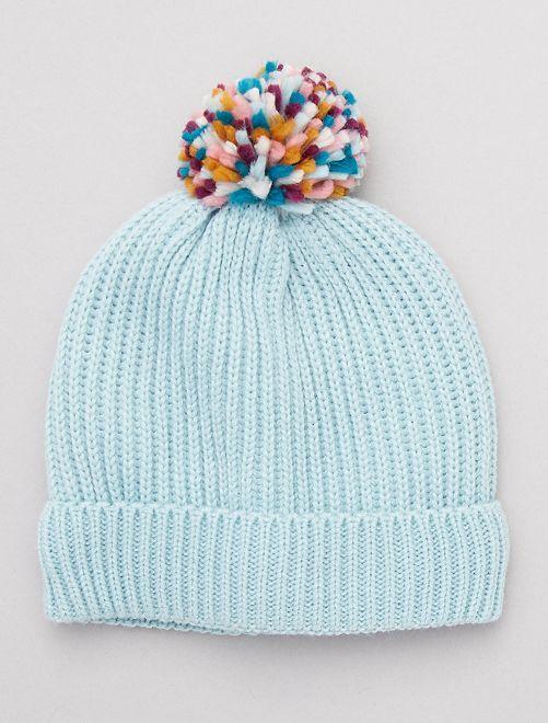 Bonnet en maille et pompon                             bleu