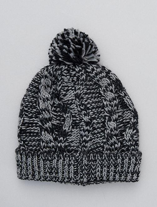 Bonnet en maille fourré                     noir/gris
