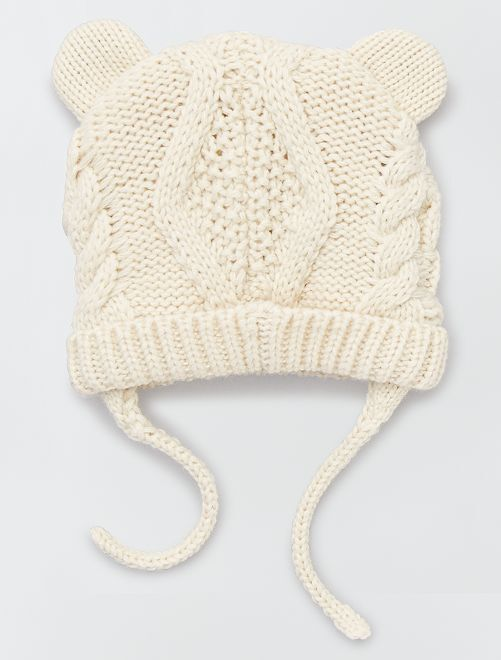 Bonnet en maille torsadée                             beige