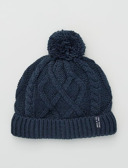 Bonnet en maille torsadée                                                     bleu marine