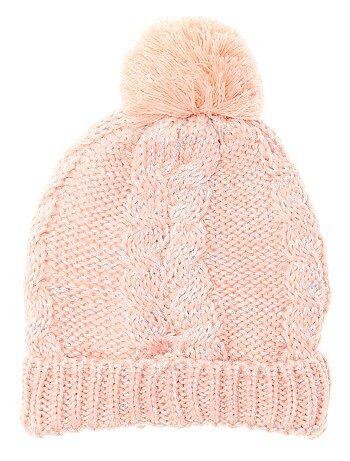 Bonnet en maille tricot à pompon