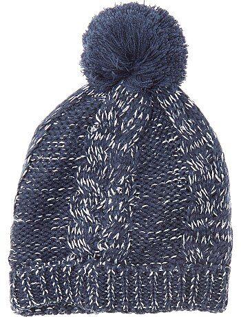 Bonnet en maille tricot à pompon - Kiabi