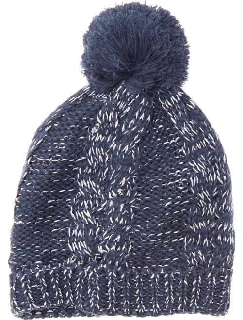 Bonnet en maille tricot à pompon                                                     marine