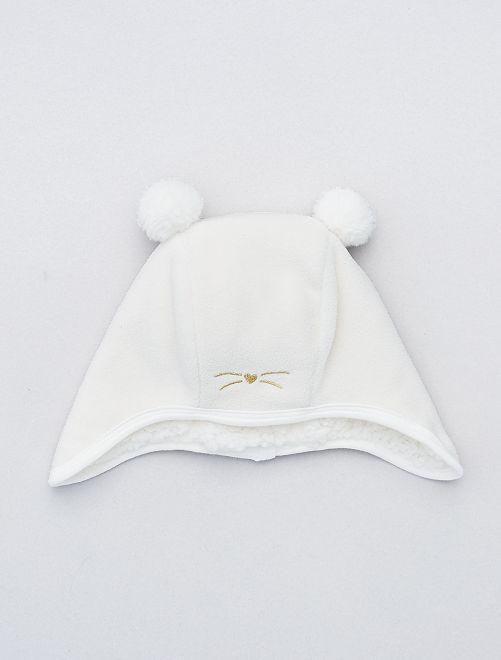 Bonnet en polaire doublé sherpa douce                             blanc