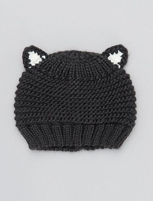 Bonnet en tricot avec oreilles                     gris foncé