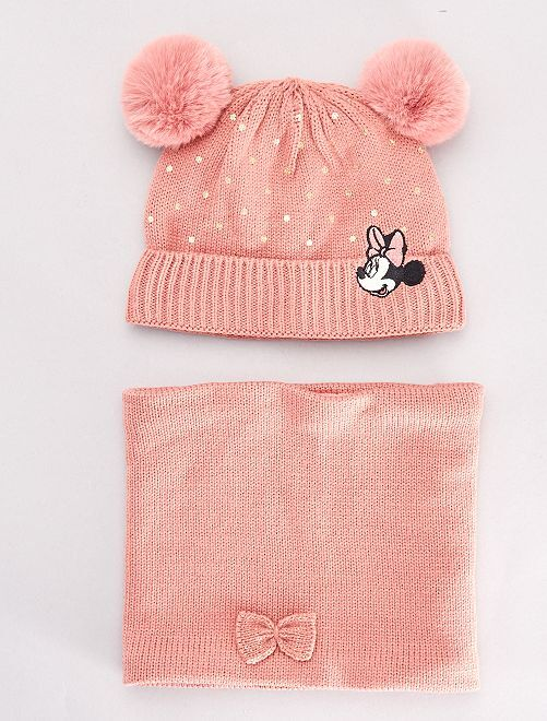 Bonnet et snood 'Minnie Mouse'                             rose