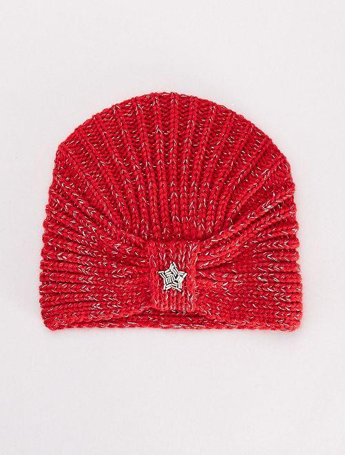 Bonnet forme turban                                         rouge