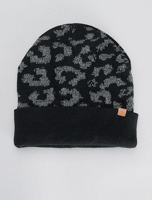 Bonnet imprimé brillant                                                     noir