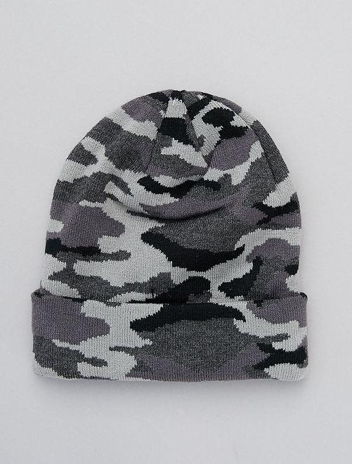 Bonnet imprimé camouflage                                         noir/gris