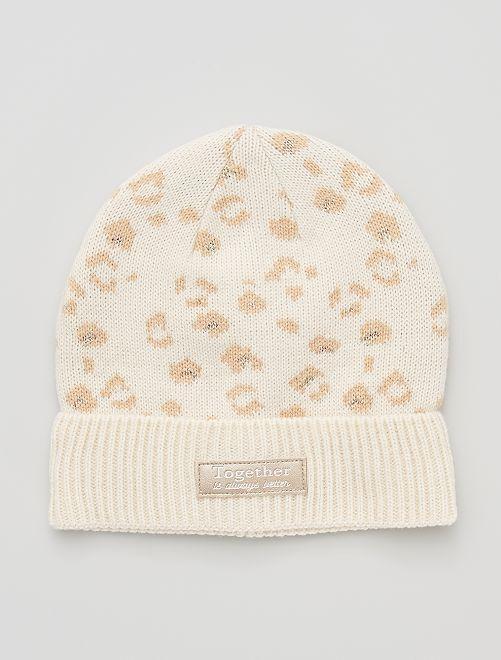 Bonnet 'léopard'                                         BLANC