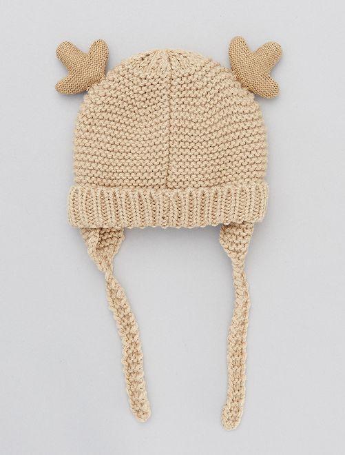 Bonnet ludique en grosse maille                                         beige