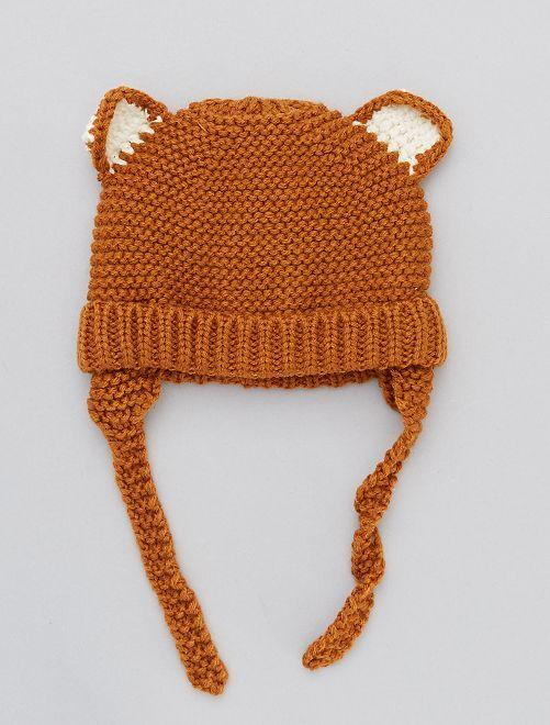 Bonnet ludique en grosse maille                                         marron