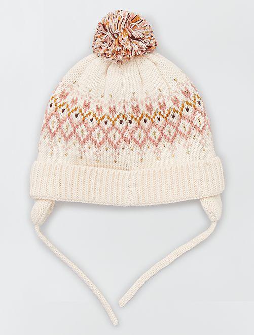 Bonnet motifs 'jacquard'                             ecru