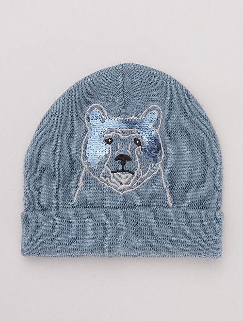 Bonnet 'ours' détail 'sequins'                             bleu gris