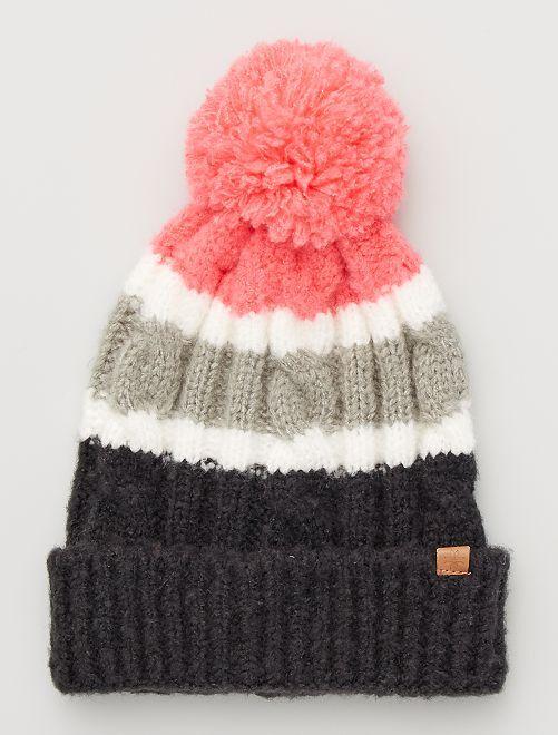 Bonnet raye maille tricot                                         NOIR