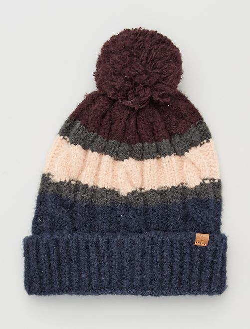 Bonnet raye maille tricot                                         ROUGE