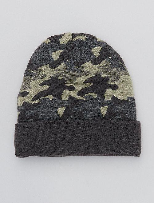 Bonnet réversible en maille                             camouflage/gris