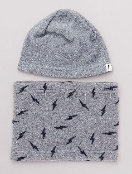 Bonnet + snood en polaire                                         gris