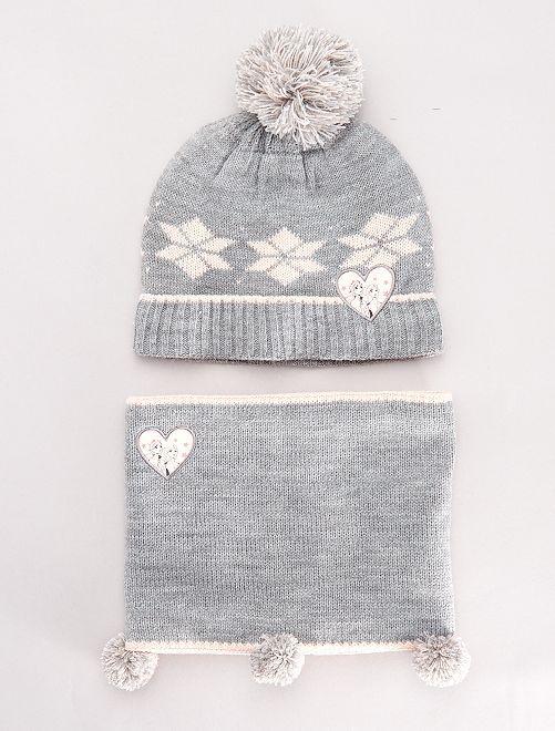 Bonnet + snood 'La Reine des Neiges'                             gris