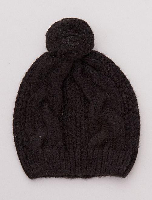 Bonnet torsadé à pompon                                                                 noir