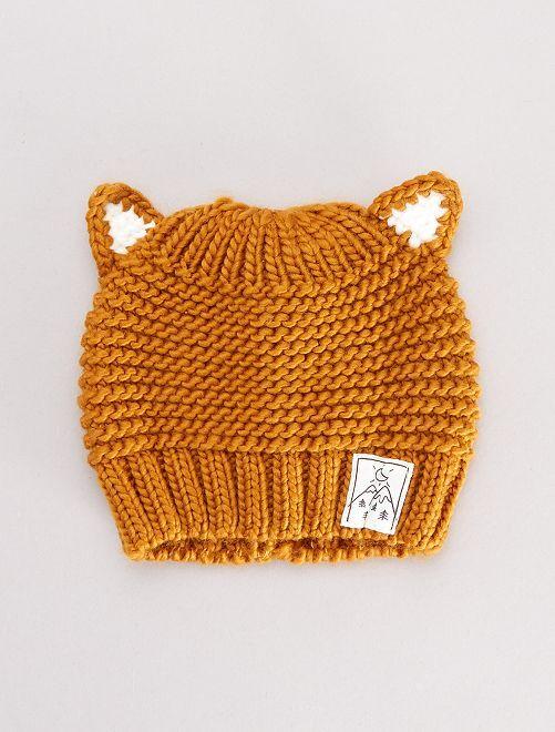 Bonnet tricot avec oreilles                                                     jaune