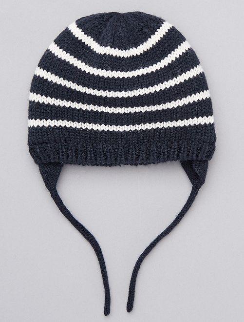 Bonnet tricot rayé                             rayé écru