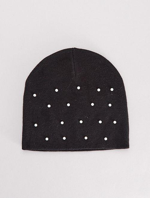 Bonnet uni avec perles                                         noir