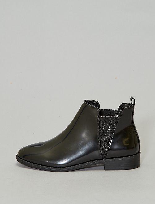 Boots à clous style chelsea brillantes                                         noir brillant