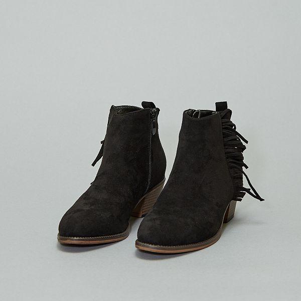 Boots à franges en suédine